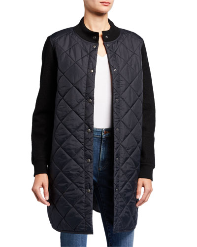 Petite Quilted Nylon Button-Front Wool Sleeve Long Jacket