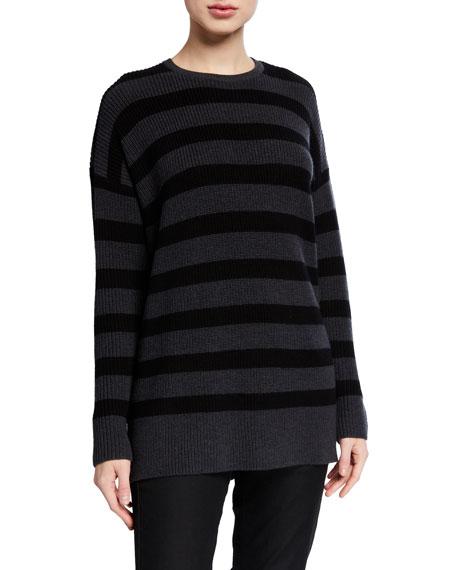 Eileen Fisher Striped Crewneck Merino Wool Tunic Sweater