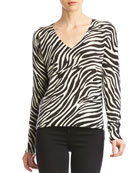 Bailey 44 Heidi V-Neck Sweater with Zebra Print