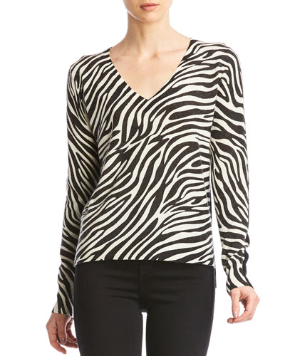 Heidi V-Neck Sweater with Zebra Print Front