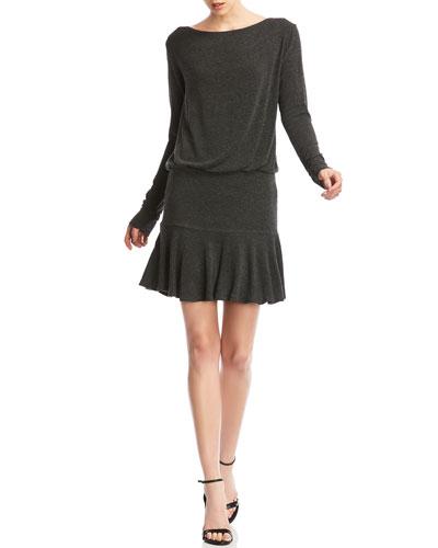 Zoe Boat-Neck Long-Sleeve Flounce Hem Mini Dress