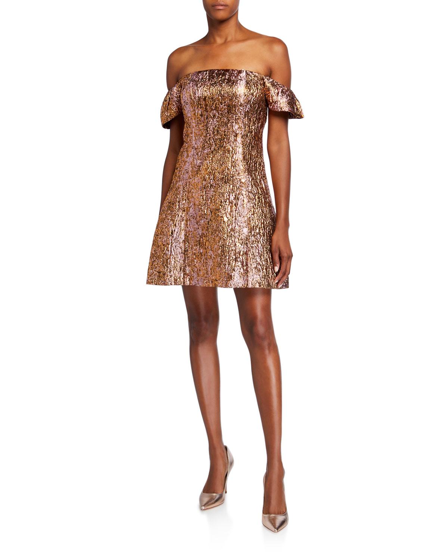 Aidan Mattox Dresses PUFF OFF-SHOULDER METALLIC COCKTAIL DRESS