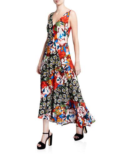 Floral-Print V-Neck Sleeveless Long Asymmetrical Dress