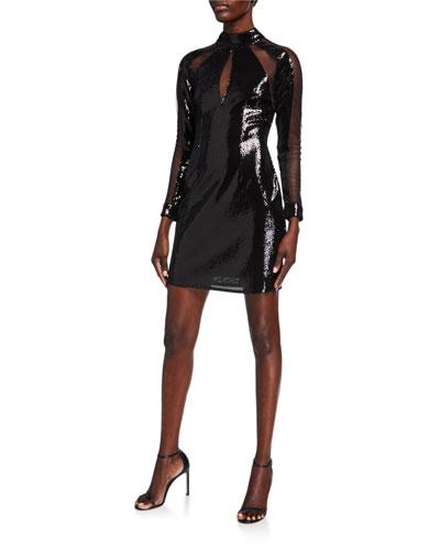 Sequin & Mesh Inset Mock-Neck Long-Sleeve Mini Dress