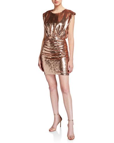 Sequin Extended Shoulder Blouson Mini Cocktail Dress