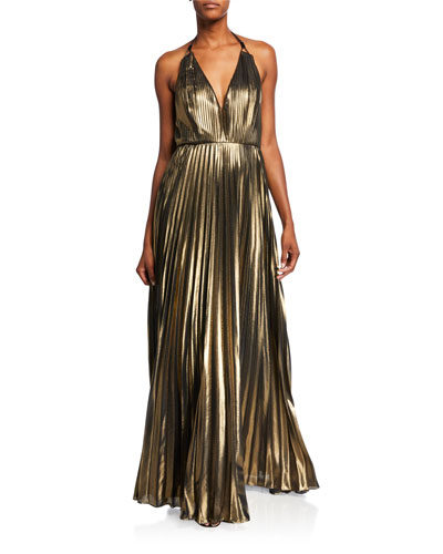 Pleated Foiled Chiffon Halter Gown