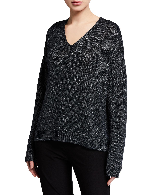 Eileen Fisher Sweaters ORGANIC LINEN V-NECK SHIMMER SWEATER