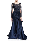 Badgley Mischka Couture Long-Sleeve Lace Illusion Gown w/