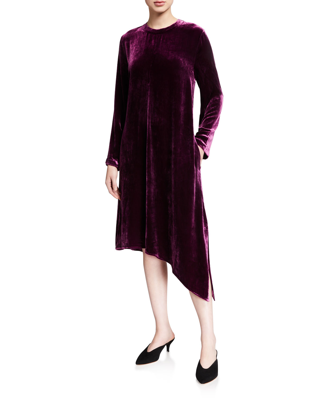 Eileen Fisher Dresses VELVET JEWEL-NECK LONG-SLEEVE ASYMMETRICAL MIDI DRESS