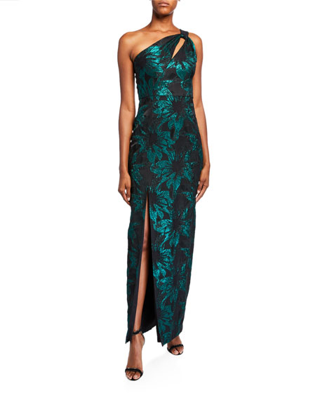 Aidan Mattox One-Shoulder Cutout Jacquard Column Gown w/ Slit