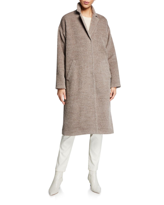 Eileen Fisher Coats PETITE SHEARED SURI ALPACA NOTCH-COLLAR COAT