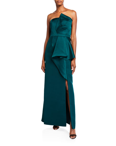 Aidan Mattox Mikado Bustier Dress with Slit