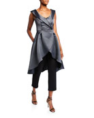 Aidan Mattox Portrait Collar High-Low Mikado Overlay Jumpsuit
