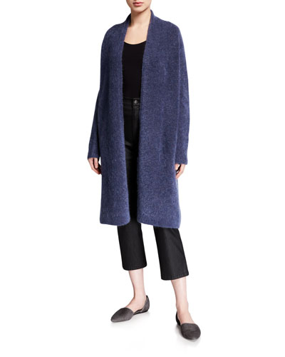 Plush Melange Wool Mohair Long Cardigan