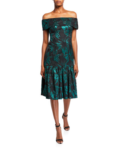 Jacquard Off-the-Shoulder Flounce-Hem Midi Dress