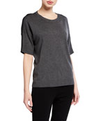 Eileen Fisher Crewneck Elbow-Sleeve Cozy Lyocell Top