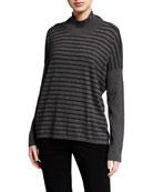 Eileen Fisher Lightweight Striped Mock-Neck Lyocell Sweater