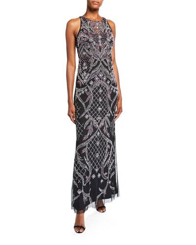 Beaded Sleeveless Column Gown