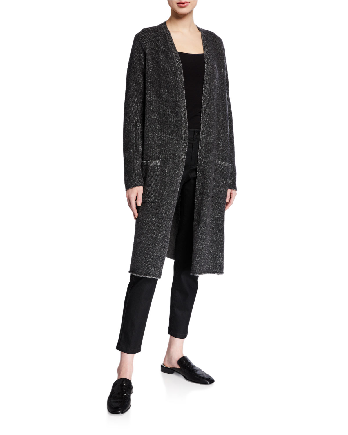 Eileen Fisher Tops PETITE LONG PLAITED LOFTY RECYCLED CASHMERE CARDIGAN