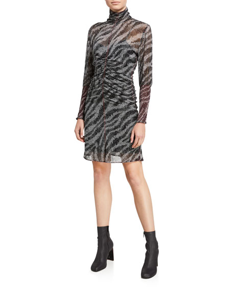 Rag & Bone Maris Ruched Long-Sleeve Zebra-Print Dress