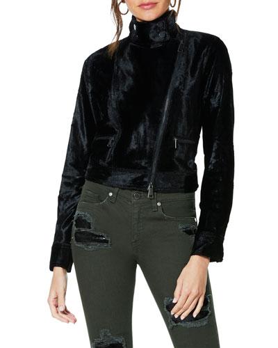 Danser Cropped Velvet Moto Jacket