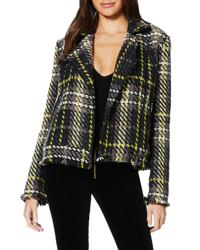 Ethan Plaid Tweed Moto Jacket