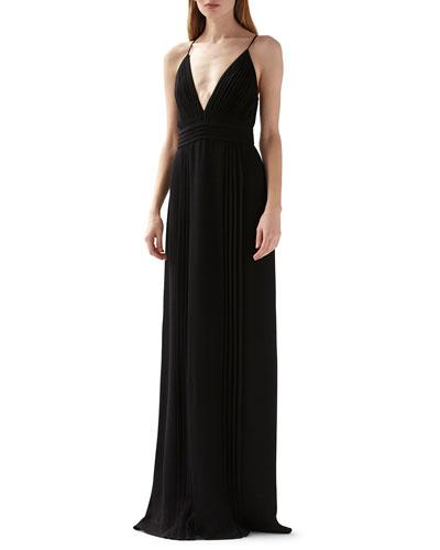 Deep V-Neck Sleeveless Pleated Maxi Dress