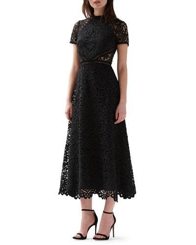 Mock-Neck Short-Sleeve Lace Midi Dress