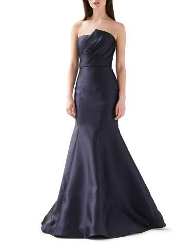 Strapless Asymmetrical Mermaid Gown