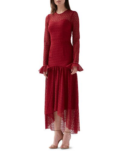 Lace Long-Sleeve High-Low Dress