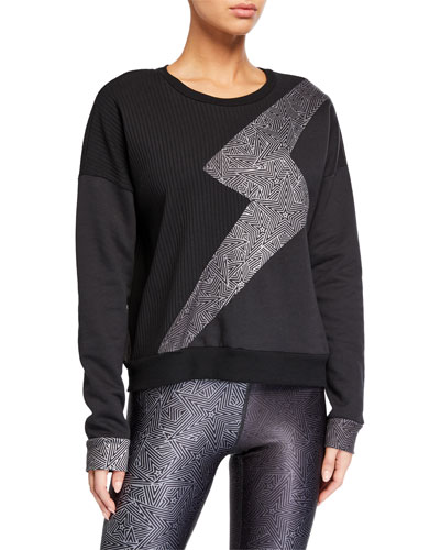 Ribbed Lightning Bolt Crewneck Sweatshirt