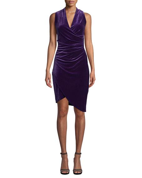 Nicole Miller Stefanie V-Neck Sleeveless Stretch Velvet Dress