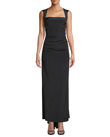 Nicole Miller Felicity Square-Neck Sleeveless Column Gown