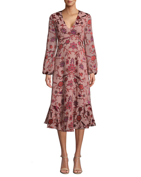 Nicole Miller Red Vines Long-Sleeve Midi Floral Dress
