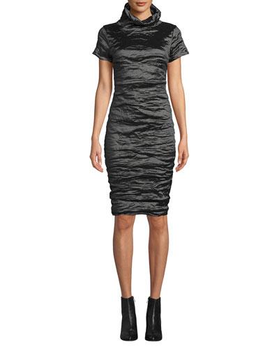 High-Neck Short-Sleeve Techno Metal Dress