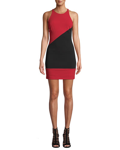 Colorblock X-Back Heavy Jersey Halter Dress