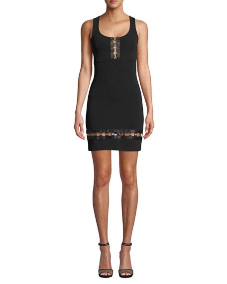 Nicole Miller Embellished Square-Neck Sleeveless Heavy Jersey Mini Dress