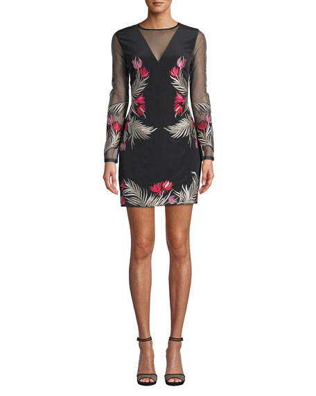 Nicole Miller Flower Fire Embroidered Long-Sleeve Short Illusion Dress