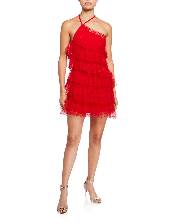 Alexis Dresses RAINA TIERED TULLE HALTER DRESS