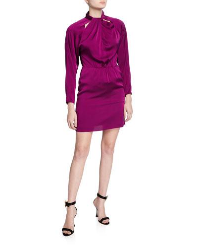 Celeste Mock-Neck Cutout Back Stretch Silk Tie Short Dress