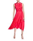 Milly Lyra Sleeveless Stretch Silk Tie-Back Midi Dress