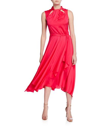 Lyra Sleeveless Stretch Silk Tie-Back Midi Dress