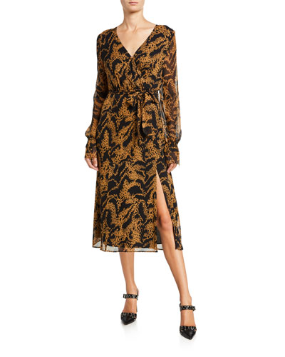 Chamomile Printed Long-Sleeve Wrap Dress