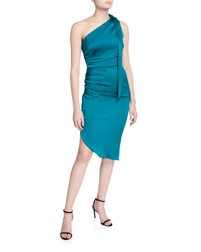 Coleen One-Shoulder Tie-Neck Sleeveless Stretch Silk Dress