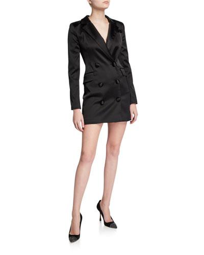 Double-Breasted Stretch Satin Mini Blazer Dress
