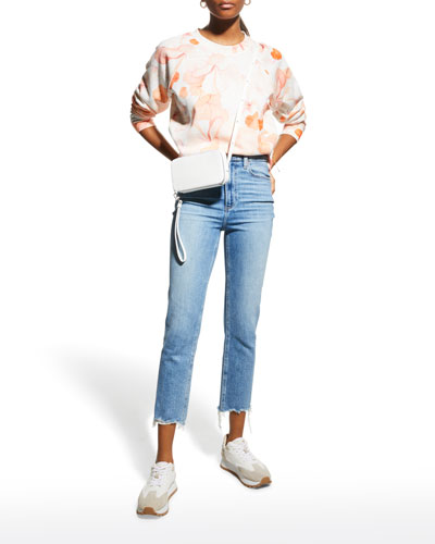 Cindy Cropped Straight Jeans with Shredded Hem