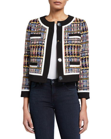 Milly Multicolor Sparkle Tweed Crystal Boxy Jacket