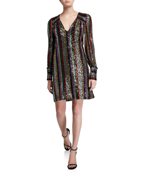 Milly Lylah Rainbow Multistripe Sequin V-Neck Blouson-Sleeve Dress