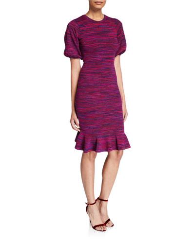Space Dye Puff-Sleeve Dress