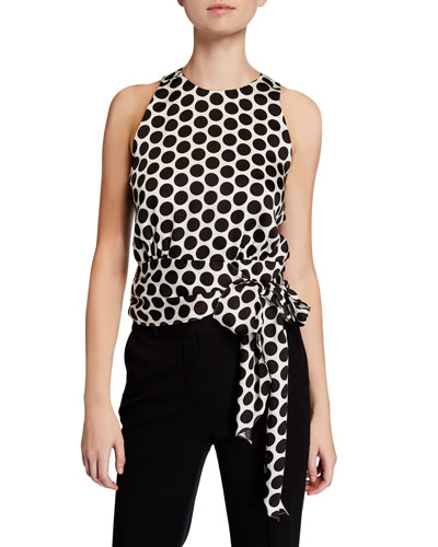 Lauren Dot Print Sleeveless Twill Top